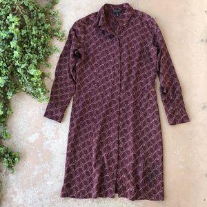 Rag & Bone Red Geometric Silk Shift Shirt Dress
